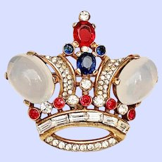 Vintage Trifari Crown Pin Brooch Jelly Belly Sim Moonstone Large Size