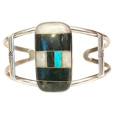 Vintage Native American NA Santo Domingo Zuni Turquoise Inlay Sterling Silver Cuff Bracelet