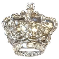 Vintage Katz Coro Craft Crown Brooch Pin 1951 Golden Jubilee Invisibly Set Clear Rhinestones