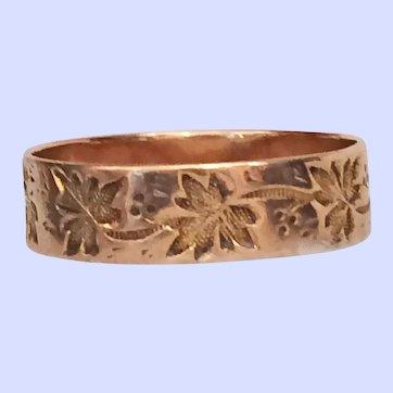 Victorian 10K Rose Gold Cigar Band Wedding Ring Size 8.25