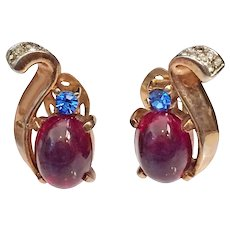 Trifari Jelly Belly Crown Earrings Red Blue Gold Tone