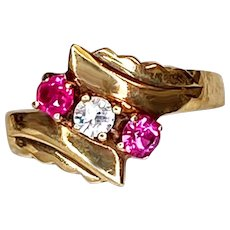 Vintage Synthetic Ruby White Spinel 10K Gold Ring Size 6.5