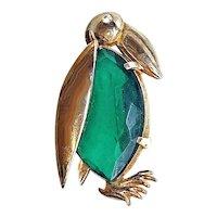 Penguin Pin Brooch Green Rhinestone Belly Gold Tone