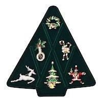 Vintage Kenneth Lane Christmas Pin Brooch Set Franklin Mint