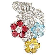 Rare Early Trifari Fur Clip Pin Multicolor Rhinestone Flowers Bow Silver Tone