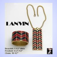 Lanvin Necklace Bracelet Set Vintage Enamel Blue Red Gold Tone