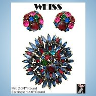 Weiss Pin Earrings Set, Ruffle Style Pin Special Rhinestones
