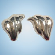 Quality Mexican Sterling Upswept Clip Earrings, Signed