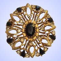 Florenza Signed Brooch Pin Jet Black Rhinestones Gold Tone