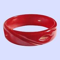 Vintage Bakelite Carved and Cut Through Bangle Bracelet Deep Red