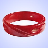 Vintage Bakelite Carved and Cut Through Bangle Bracelet Deep Red