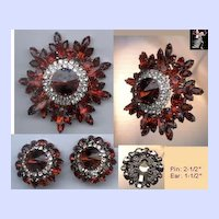 Juliana DeLizza & Elster Brooch Pin Earrings Set: Red Juliana Rhinestone Set