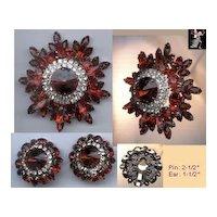 Juliana DeLizza & Elster Brooch Pin Earrings Set: Red Juliana Rhinestone Set