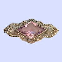 Edwardian German Amethyst Sterling Silver Marcasite Pin Brooch Ca. 1910