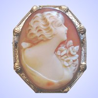 White Gold Filigree Shell Cameo Brooch Pin Pendant 14K