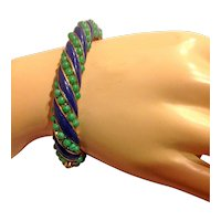 Jomaz Signed Hinged Bangle Bracelet Simulated Jade Cabochon Cobalt Blue Enamel