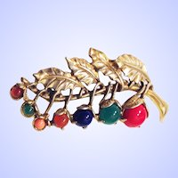 Little Nemo LN/25 Berries Pin Brooch Multicolor Simulated Semiprecious Cabochons Gold Tone