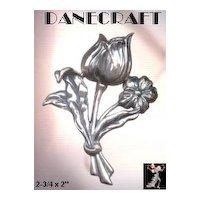 Danecraft Pin: Vintage Sterling Silver Tulip Pin Brooch by Danecraft