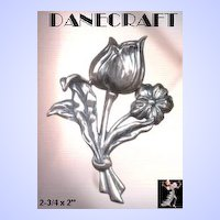 Danecraft Pin: Vintage Sterling Silver Tulip Pin Brooch by Danecraft