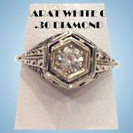 Art Deco 18K White Gold Filigree .30 Carat European Mine Cut Diamond Ring