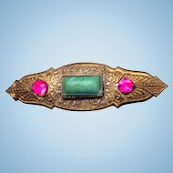 Czech Egyptian Art Deco Pin Brooch, Egyptian Art Deco