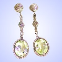 Edwardian / Art Deco Chromium Filigree Green Amethyst Color /Crystal Drop Earrings