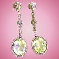 Edwardian / Art Deco Chromium Filigree Green Amethyst Color /Crystal Drop Earrings