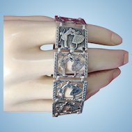 Sweetheart Sterling Silver Bracelet Ca. 1900 Kissing Couple