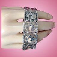 Sweetheart Sterling Silver Bracelet Ca. 1900 Kissing Couple