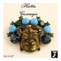 Hattie Carnegie Face Pin: Vintage Hattie Carnegie Mask Pin