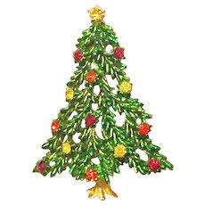 Christmas Tree Pin signed Hedy Rhinestone Metallic Enamel Gold Tone - Vintage Book Piece!