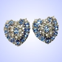 Hollycraft Heart Clip Earrings Medium Blue Rhinestones - Charming!