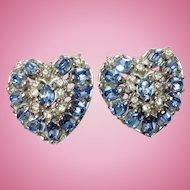 Hollycraft Heart Clip Earrings Medium Blue Rhinestones - Charming!