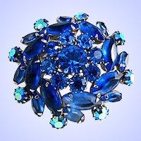 Juliana De Lizza & Elster Cobalt Blue & Blue AB Rhinestone Brooch Pin