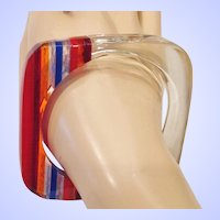Vintage Lucite Laminated Bangle Bracelet Red Blue Orange Clear Hand Crafted