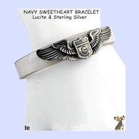 Patriotic Navy Sweetheart Bracelet WWII Lucite & Sterling Silver Hand Made
