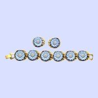 Unusual Czech Glass Textured & Enameled & Gilded Flowers Bracelet Earrings Set