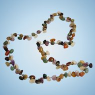 Semiprecious Stones Sterling Silver Necklace Hand Made Ethnic