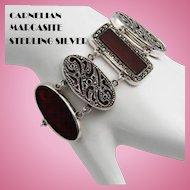Wide Marcasite Carnelian Sterling Silver Statement Bracelet