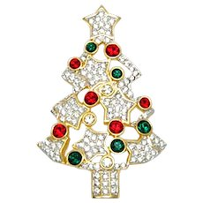 Swarovski Swan Signed Christmas Tree Pin Brooch Retired Limited Edition