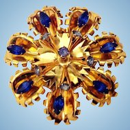 """Huge 3"""" Gold Vermeil Sterling Pin Brooch Shades Blue Rhinestones"""