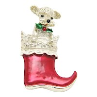 GERRYS Puppy Dog Christmas Stocking Pin Brooch Vintage