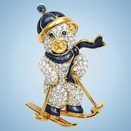 Swarovski Swan Signed Skiing Teddy Bear Christmas Brooch Pin