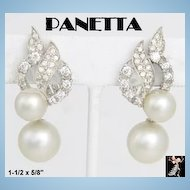 Panetta Earrings: Vintage Panetta Simulated Pearl Clip Drop Earrings