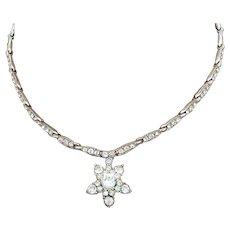 Bogoff Clear Rhinestone Star Necklace Rhodium Plated Silver Tone