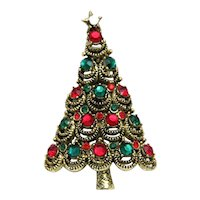 Pakula Christmas Tree Pin Brooch Red Green Rhinestones Gold Tone Vintage Signed