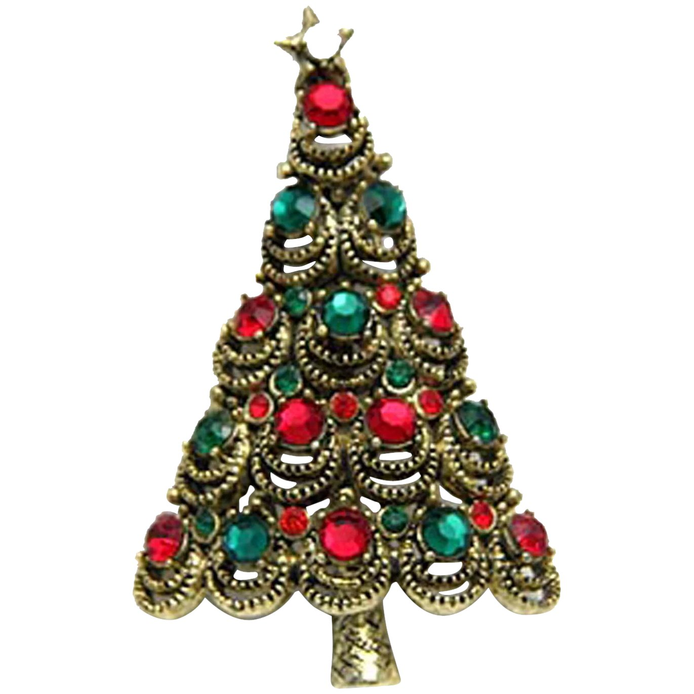 Vintage Christmas Clear and Red Rhinestone Tree Pin Brooch