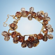 Vintage Juliana Bracelet Light Topaz Rhinestones & Smoke/Gold Crystals