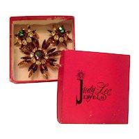 Original Judy Lee Signature Box Watermelon Pin Earrings Set