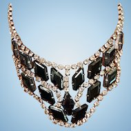 Juliana De Lizza & Elster Black Lozenge Shaped & Clear Rhinestone Necklace